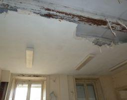 Le plafond du grand salon avant enlèvement du plâtre.